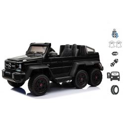 Mercedes-Benz G63 6X6 Elektromos gyermekautó, Fekete, 6 Kerék, Világító Kerekek, 4x4 Meghajtás, 12V14AH, Hordozható Akkumulátor, EVA Kerekek, Párnázott bőr ülések, 2,4 GHz Távirányító, Kulcs, 4X MOTOR, Két pedál