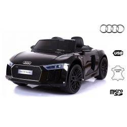 Elektromos kisautó gyerekeknek Audi R8 Spyder, 12V, 2,4 GHz távirányító, nyitható ajtók, EVA kerekek, bőr ülés, 2 X MOTOR, fekete, Eredeti Liszensz