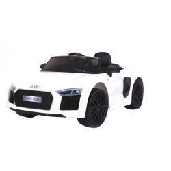 Elektromos kisautó gyerekeknek Audi R8 Spyder, 12V, 2,4 GHz távirányító, nyitható ajtók, EVA kerekek, bőr ülés, 2 X MOTOR, fehér, Eredeti Liszensz