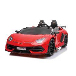 Lamborghini Aventador 12V Elektromos játékautó kétszemélyes, piros, 2,4 GHz-es távirányító, USB / SD bemenet, felfüggesztés, felfelé nyíló ajtó, puha EVA kerekek, 2 X MOTOR, Eredeti licenc