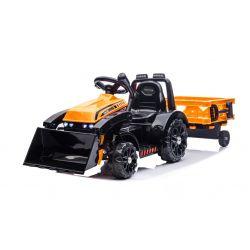 Elektromos FARMER  traktor merőkanállal és utánfutóval, narancssárga, hátsókerék-meghajtás, 6 V-os akkumulátor, műanyag kerekek, széles ülés, 20 W-os motor, Egyszemélyes, Kormánykerék-vezérlés, LED-es lámpák
