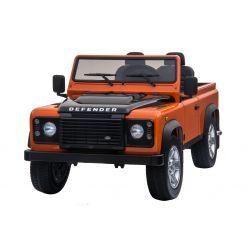 Elektromos kisautó Land Rover Defender, narancssárga, 4x4 kerék meghajtás, 2x 12V7AH, EVA kerekek, kárpitozott ülések, 2,4 GHz távkapcsoló, USB/TF bemenet, Kétszemélyes