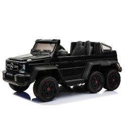 Mercedes-Benz G63 6X6 Elektromos gyermekautó, Fekete Lakkozott, LCD Kijelző, 6 Kerék, Háttérvilágítású Kerekek, 4x4 Meghajtás, 12V14AH, Hordozható Akkumulátorok, GUMI Kerekek, Párnázott bőr ülések, 2,4 GHz Távirányító, Kulcs, 4X MOTOR, Szervokormány, Két