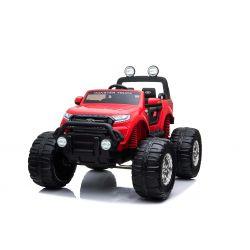 Elektromos kisautó Ford Ranger Monster Truck 4X4, piros, távirányító 2.4Ghz, Fokozatos gyorsulás, USB/Radio/SD/MP3 bemenet Bluetooth csatlakozással, Akkumulátor kapacitás kijelző, Hatalmas rugós EVA kerekek, LED lámpák, hordozható akkumulátor