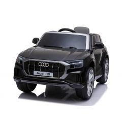 Elektromos autó Audi Q8, 12V, 2,4 GHz távirányító, USB / SD bemenet, LED-es lámpák, 12 V-os elem, puha EVA kerekek, 2 X MOTOR, fekete, Eredeti liszensz