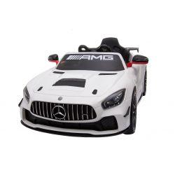 Elektromos kisautó Mercedes-Benz GT4, 12V, 2,4 GHz távirányító, nyitható ajtók, rugós felfüggesztés, puha EVA kerekek, 2 X MOTOR, fehér, Szervokormány, VALÓDI liszensz