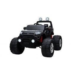 Elektromos kisautó Ford Ranger Monster Truck 4X4, fekete, távirányító 2.4Ghz, Fokozatos gyorsulás, USB/Radio/SD/MP3 bemenet Bluetooth csatlakozással, Akkumulátor kapacitás kijelző, Hatalmas rugós EVA kerekek, LED lámpák, hordozható akkumulátor