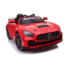 Elektromos kisautó Mercedes-Benz GT4, 12V, 2,4 GHz távirányító, nyitható ajtók, rugós felfüggesztés, puha EVA kerekek, 2 X MOTOR, piros, Szervokormány, VALÓDI liszensz