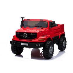 Elektromos kisautó Mercedes-Benz Zetros 24V, két ülés, 2 x 120 W Motor, EVA kerekek, elektromos fék, Rugós felfüggesztés , Kétszemélyes, Piros, FM Rádió, USB, SD kártya, ORGINÁL liszensz