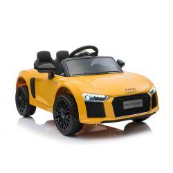 Elektromos autó Audi R8, Egyszemélyes  12 V, 2,4 GHz távirányító, USB / SD bemenet, lengéscsillapított, 12 V akkumulátor, puha EVA kerekek, 2 X MOTOR, sárga, eredeti liszensz