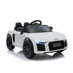 Elektromos autó Audi R8, Egyszemélyes,  12 V, 2,4 GHz távirányító, USB / SD bemenet, lengéscsillapított, 12 V akkumulátor, puha EVA kerekek, 2 X MOTOR, fehér, eredeti liszensz