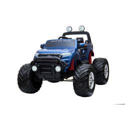 Elektromos kisautó Ford Ranger Monster Truck 4X4, kék, lakkozott, távirányító 2.4Ghz, Fokozatos gyorsulás, USB/Radio/SD/MP3 bemenet Bluetooth csatlakozással, Akkumulátor kapacitás kijelző, Hatalmas rugós EVA kerekek, LED lámpák, hordozható akkumulátor