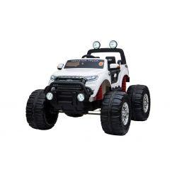 Elektromos kisautó Ford Ranger Monster Truck 4X4, fehér, távirányító 2.4Ghz, Fokozatos gyorsulás, USB/Radio/SD/MP3 bemenet Bluetooth csatlakozással, Akkumulátor kapacitás kijelző, Hatalmas rugós EVA kerekek, LED lámpák, hordozható akkumulátor