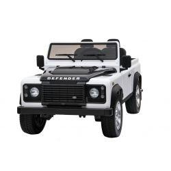 Elektromos kisautó Land Rover Defender, fehér, 4x4 kerék meghajtás, 2x 12V7AH, EVA kerekek, kárpitozott ülések, 2,4 GHz távkapcsoló, USB/TF bemenet, Kétszemélyes