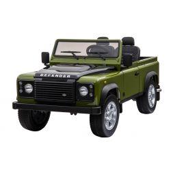 Elektromos kisautó gyerekeknek Land Rover Defender, zöld, 4x4 kerék meghajtás, 2x 12V7AH, EVA kerekek, kárpitozott ülések, 2,4 GHz távkapcsoló, USB/TF bemenet, Kétszemélyes