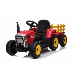 Elektromos traktor WORKERS utánfutóval, piros, Hátsó kerék meghajtás, 12 V-os akkumulátor, műanyag kerekek, széles műanyag ülés, 2,4 GHz-es távirányító, egyszemélyes, MP3 lejátszó USB bemenettel, Bluetooth, LED-es világítás