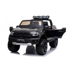 Elektromos játékautó Ford Raptor, fekete, lengéscsillapított kerekek, LED lámpák, ülés, 2,4 GHz távirányító, kulcs, 4 X MOTOR, dupla, USB, SD kártya, ORIGINAL engedély