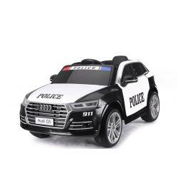Elektromos autó Audi Q5 Rendőr autó, 2,4 GHz DO, 2 X 40W MOTOR, egyszemélyes, fekete, USB, SD kártya, bőrülés, Eva kerekek, ORIGINAL engedély