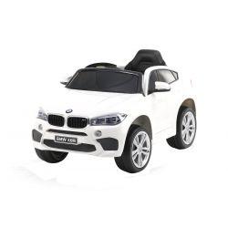 Elektromos kisautó BMW X6M ÚJ – Egyszemélyes, Eredeti Liszensz, 2,4 GHz távirányító, Nyitható ajtók, Bőr ülés, EVA kerekek, fehér, 12V,  2 X MOTOR