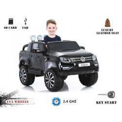 Elektromos kisautó Volkswagen Amarok 2x12V 4 Kerék Meghajtás, Fekete, EVA Kerék, széles bőr ülés, 2,4 GHz távirányító, 4 X MOTOR, USB