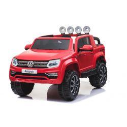 Elektromos kisautó Volkswagen Amarok 2x12V 4 Kerék Meghajtás, Piros, EVA Kerék, széles bőr ülés, 2,4 GHz távirányító, 4 X MOTOR, USB