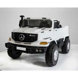 Elektromos kisautó Mercedes-Benz Zetros 24V, két ülés, 2 x 120 W Motor, EVA kerekek, elektromos fék, Rugós felfüggesztés , Kétszemélyes, Fehér, FM Rádió, USB, SD kártya, ORGINÁL liszensz