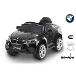 Elektromos kisautó BMW X6M ÚJ – Egyszemélyes, Eredeti Liszensz, 2,4 GHz távirányító, Nyitható ajtók, Bőr ülés, EVA kerekek, fekete, 12V,  2 X MOTOR