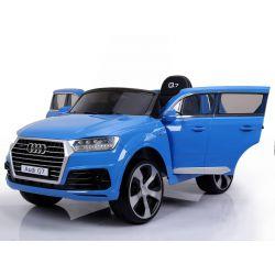 Elektromos kisautó Audi Q7, Eredeti Liszensz, 2,4 GHz távirányító, Nyitható ajtók, Bőr ülés, EVA kerekek, lakkozott Kék, 12V,  2 X MOTOR