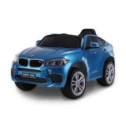 Elektromos kisautó gyerekeknek BMW X6M ÚJ – Egyszemélyes, Eredeti Liszensz, 2,4 GHz távirányító, Nyitható ajtók, Bőr ülés, EVA kerekek, lakkozott kék, 12V,  2 X MOTOR