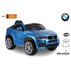 Elektromos kisautó BMW X6M ÚJ – Egyszemélyes, Eredeti Liszensz, 2,4 GHz távirányító, Nyitható ajtók, Bőr ülés, EVA kerekek, lakkozott kék, 12V,  2 X MOTOR