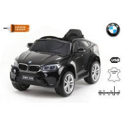 Elektromos kisautó BMW X6M ÚJ – Egyszemélyes, Eredeti Liszensz, 2,4 GHz távirányító, Nyitható ajtók, Bőr ülés, EVA kerekek, lakkozott fekete, 12V,  2 X MOTOR