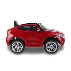 Elektromos kisautó gyerekeknek BMW X6M ÚJ – Egyszemélyes, Eredeti Liszensz, 2,4 GHz távirányító, Nyitható ajtók, Bőr ülés, EVA kerekek, lakkozott piros, 12V,  2 X MOTOR