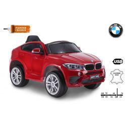 Elektromos kisautó BMW X6M ÚJ – Egyszemélyes, Eredeti Liszensz, 2,4 GHz távirányító, Nyitható ajtók, Bőr ülés, EVA kerekek, lakkozott piros, 12V,  2 X MOTOR
