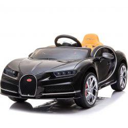 Elektromos kisautó Bugatti Chiron, 12V, 2,4 GHz távirányító, EVA kerekek, bőr ülés, 2 X MOTOR, Fekete, Eredeti Liszensz
