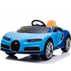 Elektromos kisautó Bugatti Chiron, 12V, 2,4 GHz távirányító, EVA kerekek, bőr ülés, 2 X MOTOR, Kék, Eredeti Liszensz