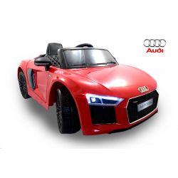 Elektromos kisautó Audi R8 Spyder, 12V, 2,4 GHz távirányító, nyitható ajtók, EVA kerekek, bőr ülés, 2 X MOTOR, piros, Eredeti Liszensz