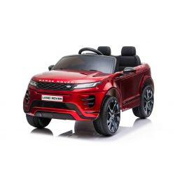 Range Rover EVOQUE elektromos autó, együléses, lakkozott piros, bőr ülés, MP3 lejátszó USB / SD csatlakozással, 4x4 hajtás, 12V10AH akkumulátor, EVA kerekek, lengéscsillapított hátsó kerekek, kulcsos háromállású indítás, 2,4 GHz-es Bluetooth távirányító,