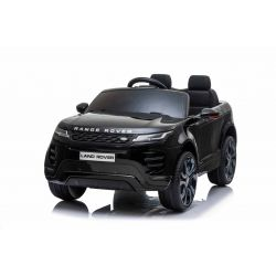 Range Rover EVOQUE elektromos autó, együléses, fekete, bőr ülés, MP3 lejátszó USB / SD csatlakozással, 4x4 hajtás, 12V10AH akkumulátor, EVA kerekek, lengéscsillapított hátsó kerekek, kulcsos háromállású indítás, 2,4 GHz-es Bluetooth távirányító,