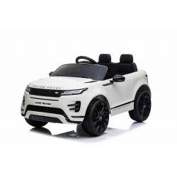 Range Rover EVOQUE elektromos autó, együléses, fehér, bőr ülés, MP3 lejátszó USB / SD csatlakozással, 4x4 hajtás, 12V10AH akkumulátor, EVA kerekek, lengéscsillapított hátsó kerekek, kulcsos háromállású indítás, 2,4 GHz-es Bluetooth távirányító,