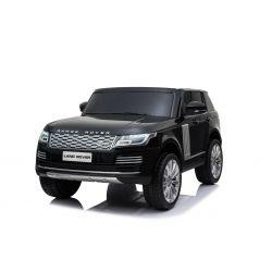 Elektromos kisautó gyerekeknek Range Rover, kettős ülés, fekete, bőr ülések, LCD kijelző USB bemenettel, 4x4 meghajtó, 2x 12V7AH, EVA kerekek, futómű tengelyek, kulcsos hármas indítás, 2,4 GHz-es Bluetooth távirányító