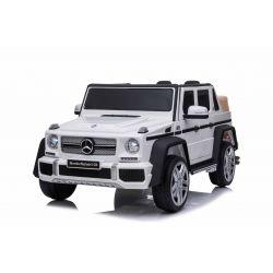 Elektromos játékautó Mercedes G650 MAYBACH, 12 V, 2,4 GHz távirányító, USB / SD bemenet, lengéscsillapított, 12 V akkumulátor, puha EVA kerekek, 2 X MOTOR, fehér, ORIGINAL engedély