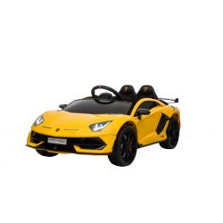 Lamborghini Aventador elektromos autó, 12 V, 2,4 GHz távirányító, USB / SD bemenet, felfüggesztés, függőleges csuklós ajtó, puha EVA kerekek, 2 X MOTOR, sárga, Eredeti Liszensz