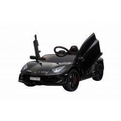 Lamborghini Aventador elektromos autó, 12 V, 2,4 GHz távirányító, USB / SD bemenet, felfüggesztés, függőleges csuklós ajtó, lágy EVA kerekek, 2 X MOTOR, fekete, Eredeti Liszensz