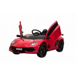 Lamborghini Aventador elektromos autó, 12 V, 2,4 GHz-es távirányító, USB / SD bemenet, felfüggesztés, függőleges csuklós ajtó, puha EVA kerekek, 2 X MOTOR, piros, Eredeti Liszensz