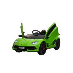 Lamborghini Aventador elektromos autó, 12 V, 2,4 GHz távirányító, USB / SD bemenet, felfüggesztés, függőleges csuklós ajtó, puha EVA kerekek, 2 X MOTOR, zöld, Eredeti Liszensz