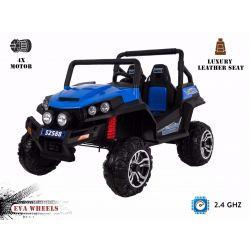 Elektromos Kisautó RSX 4 Kerék Meghajtás, kék, 2x12V, EVA Kerék, széles 2 személyes bőr ülés, 2,4 GHz távirányító, 4 X MOTOR, FM Radio, Bluetooth