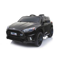 Elektromos kisautó Ford Focus RS, Fekete, 12V, EVA kerekek, műbőrözött ülés, 2,4 GHz távirányító, 2 X MOTOR, USB, Bluetooth, Rádió