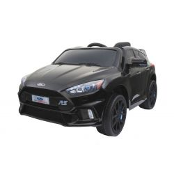 Elektromos kisautó Ford Focus RS, Fekete Lakkozott, 12V, EVA kerekek, műbőrözött ülés, 2,4 GHz távirányító, 2 X MOTOR, USB, Bluetooth, Rádió