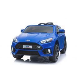 Elektromos kisautó Ford Focus RS, Kék, 12V, EVA kerekek, műbőrözött ülés, 2,4 GHz távirányító, 2 X MOTOR, USB, Bluetooth, Rádió