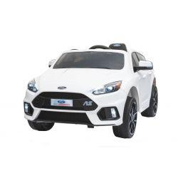 Elektromos kisautó Ford Focus RS, Fehér, 12V, EVA kerekek, műbőrözött ülés, 2,4 GHz távirányító, 2 X MOTOR, USB, Rádió